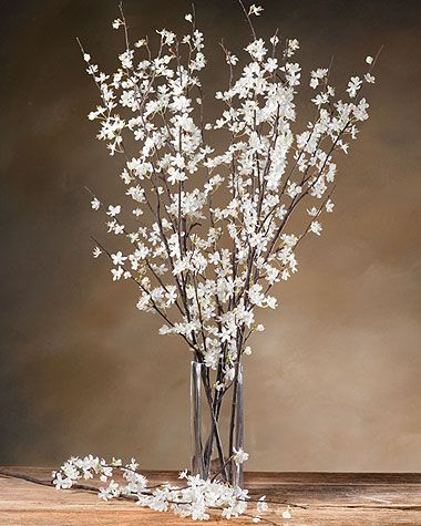 Cherry Blossom Silk Flower Stem White Tall Vase Arrangements Flower Arrangements Tall Vase Decor