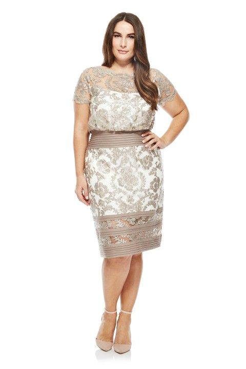 Blouson Waist Paillette Embroidered Lace Dress Plus Size Dresses