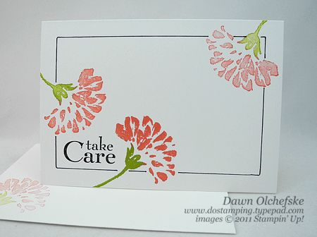 "August 21, 2011  DOstamping Celebrates Day #3: Love & Care Framed Lined Notecard Video | Stamps:  Love & Care Hostess stamp set  Ink:  Calypso Coral, Lucky Limeade, Basic Black Paper:   Whisper White Notecards and Envelopes (#107311)   Accessories:  Basic Black Stampin' Write Marker, 4-1/4"" x 2-3/4"" tracing template"