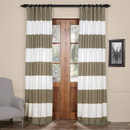 Tan And Off White 50 X 84-Inch Horizontal Stripe Curtain