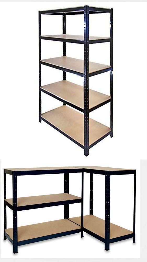 5 Tier Black Heavy Duty Boltless Metal Storage Shelves//Warehouse Racking 1.5M
