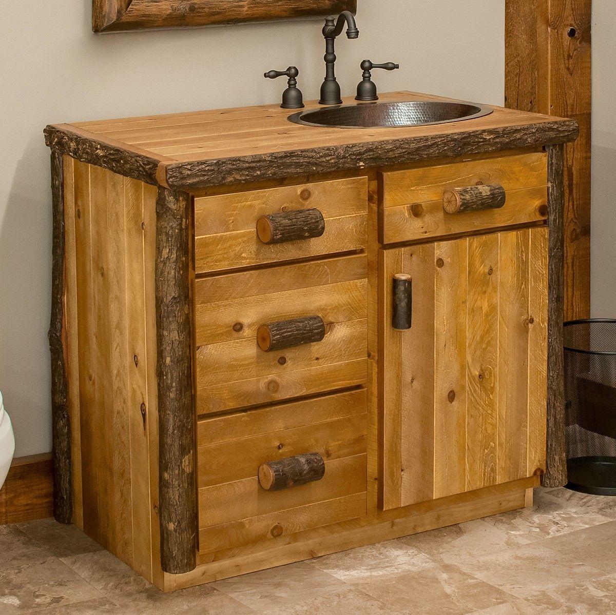 Adirondack Hickory Log Vanity 24 42 With Images Bathroom