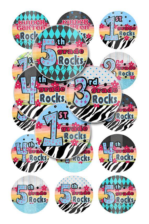 Bottlecap Images - School K thru 5th Grade Rocks (No.10) -  1 inch 4x6 Bottle Cap Digital Collage Image Sheet. $1.95, via Etsy.