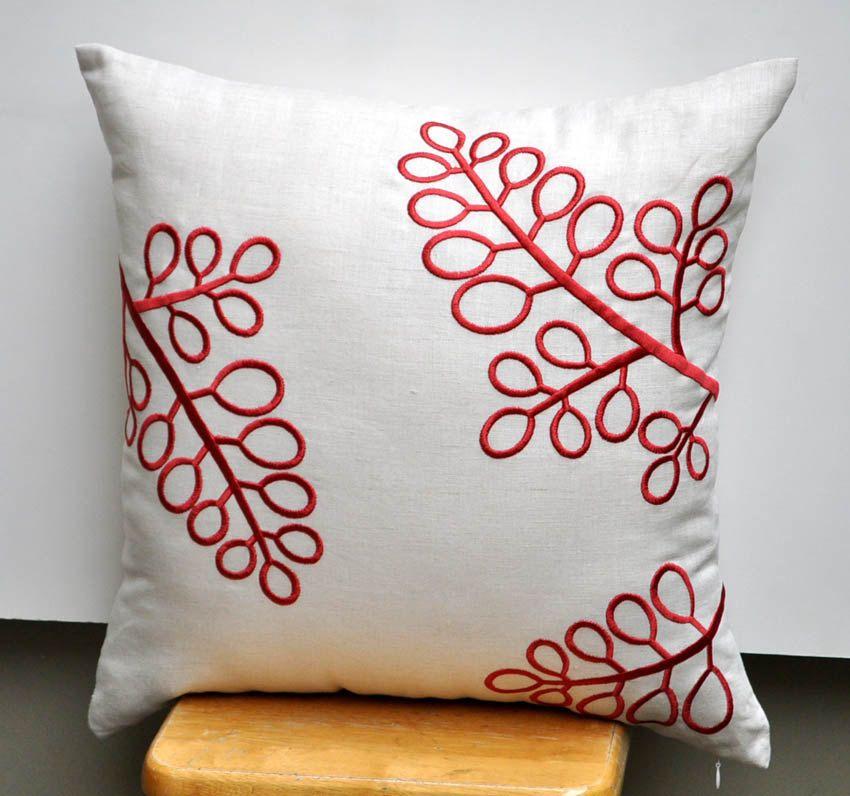Tan Linen Throw Pillow : Berry Decorative Pillow Cover, Throw Pillow Cover 18 x 18 ...