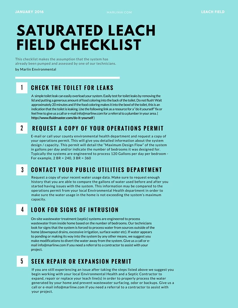 Saturated Leach Field Checklist Septic system, Septic