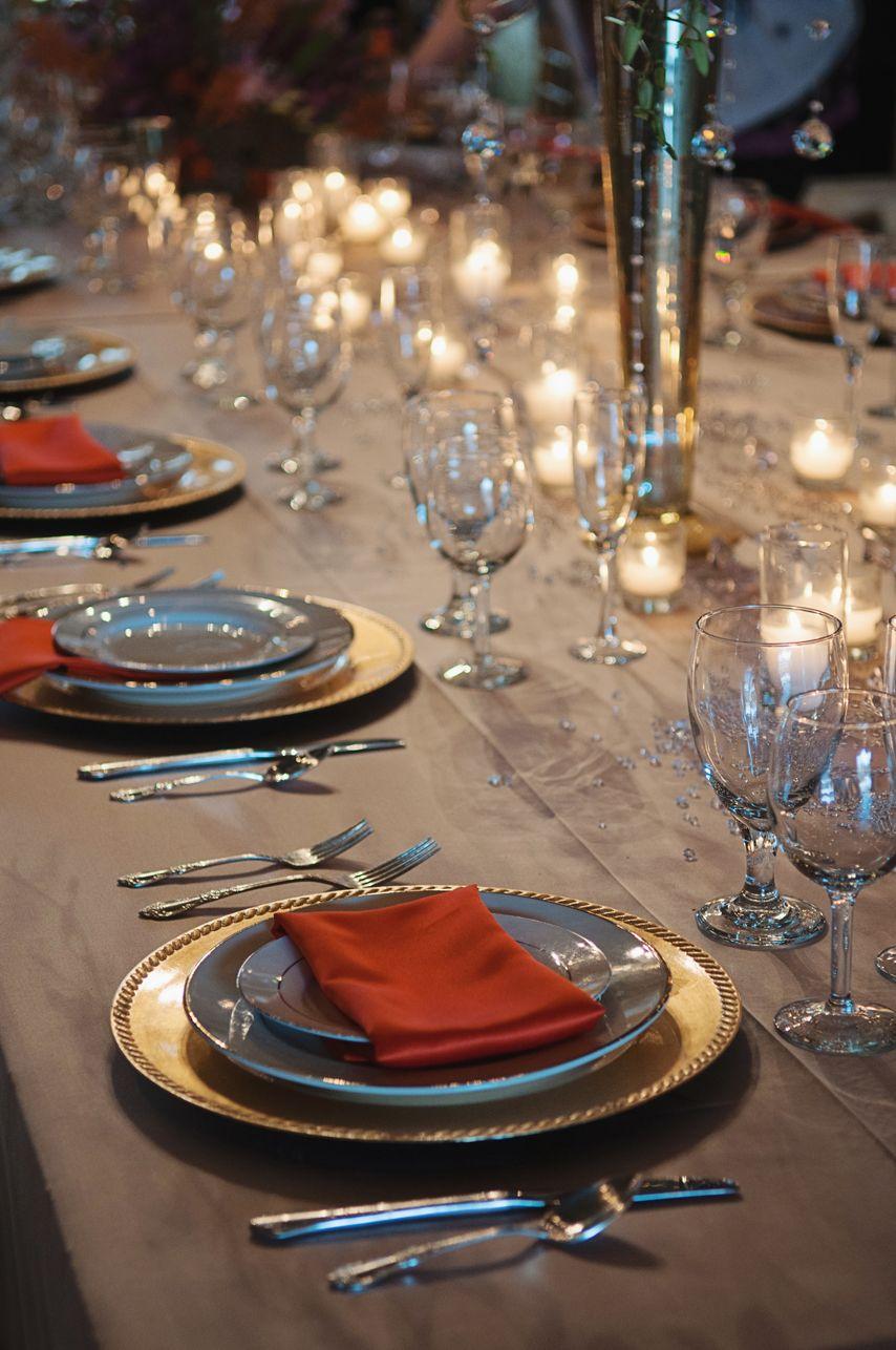 Barn wedding table settings  Orange Purple and Linen Upscale Barn Wedding Venue Field Trial