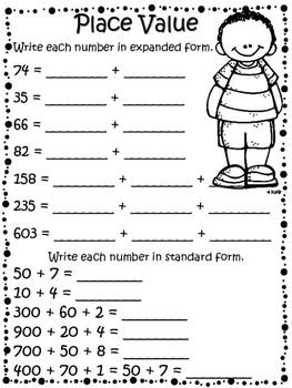 No Prep Math Packet 2nd Grade Great As A Review Or To Use With Subsute Meets Common Core Standards Secondgrade Tpt