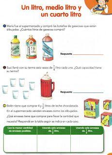 Aula Seno Sory Medidas De Capacidad El Litro Actividades De Medicion Fichas De Matematicas Practicas De Matematicas