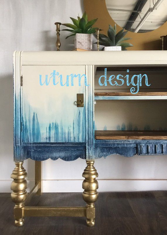 Sold!! Sold!! Boho painted tv cabinet, blue coastal buffet ...