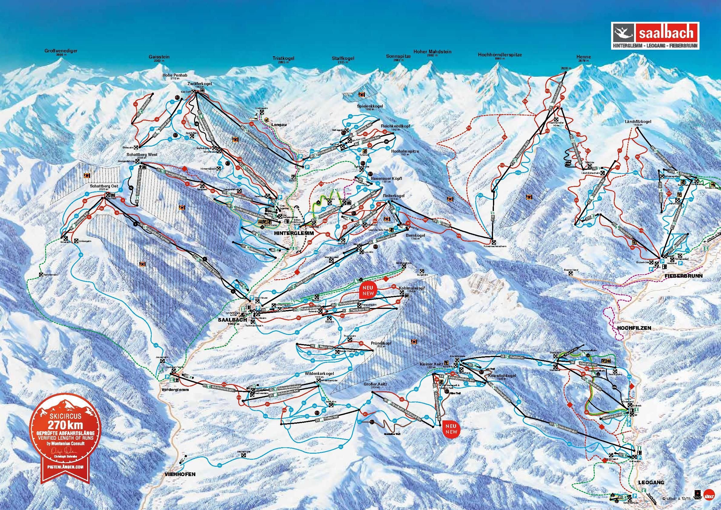 Piste Map For 2018 19 Published In 2018 At Saalbach Hinterglemm
