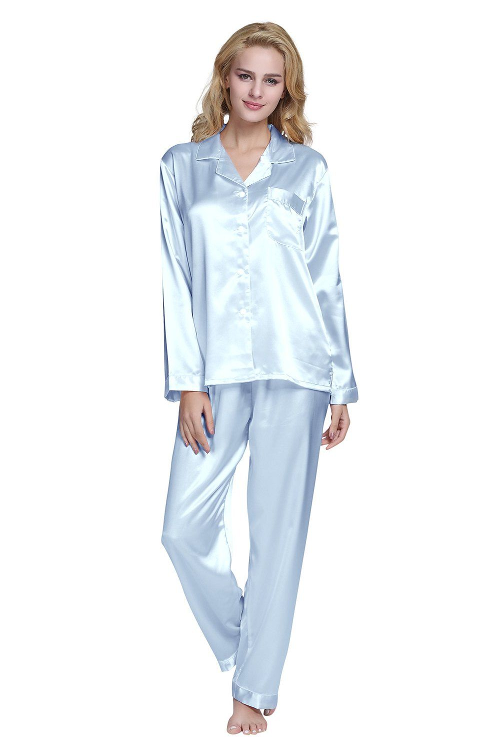 c6e76b56adc2 TONY & CANDICE Women's PJ's Classic Satin Pyjama Set: Amazon.co.uk: Clothing