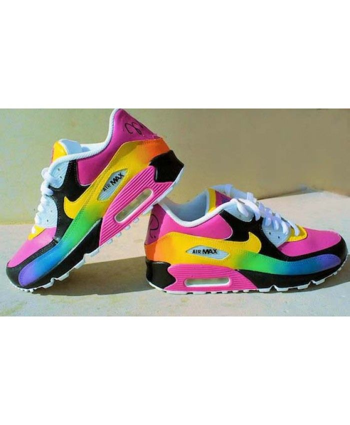 8be9fa1526 Air Max 90 Rainbow Black Pink Yellow Trainer In the spring to choose your  pink 90 style, fine and beautiful