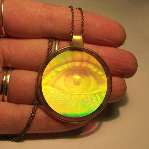Vintage hologram pendant 1960s eye glass holographic round vintage hologram pendant 1960s eye glass holographic round mozeypictures Images