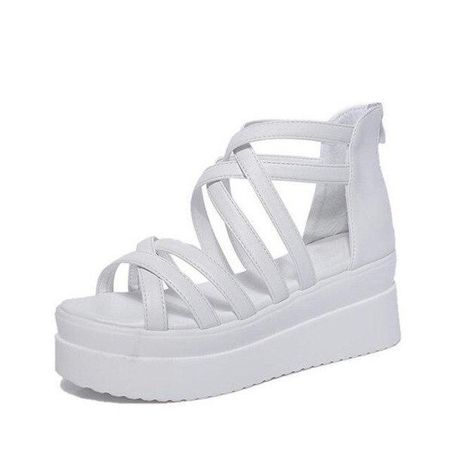830670191c MCCKLE Women Summer Casual Flat Platform Gladiator Sandals Wedge High Heels  Female Zipper Cross Dewy Toe Creeper Shoes Footwear