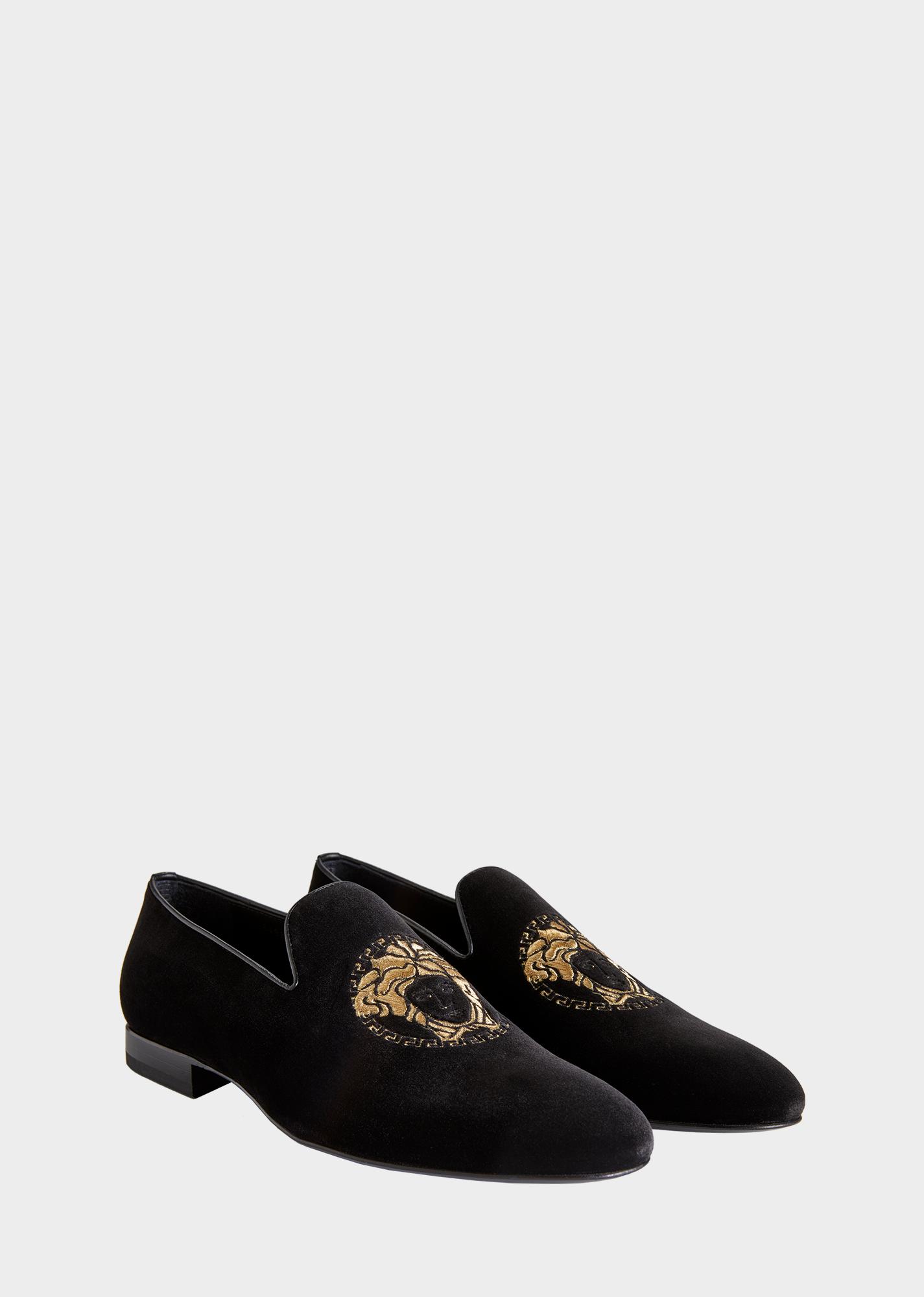 27fa685bb24 Medusa Head Velvet Slippers - Black Gold Moccasins   Loafers