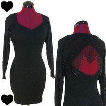 Vintage 80s 90s Body Con Dress XS S