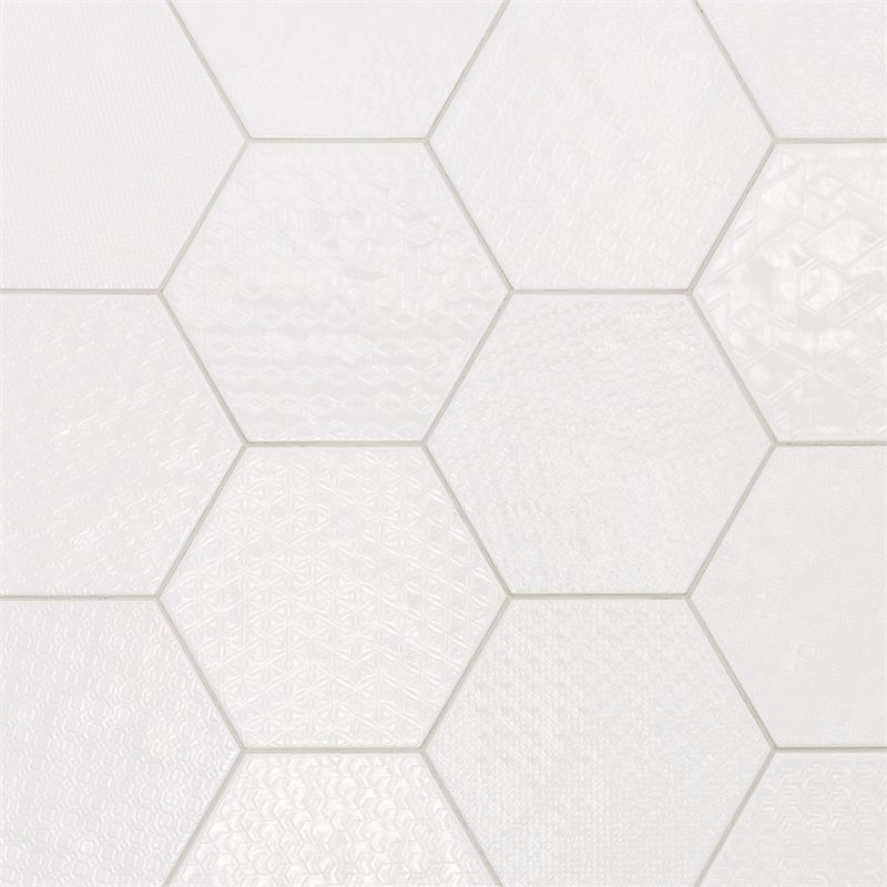 White Hexagon Mix Motif Ceramic Wall