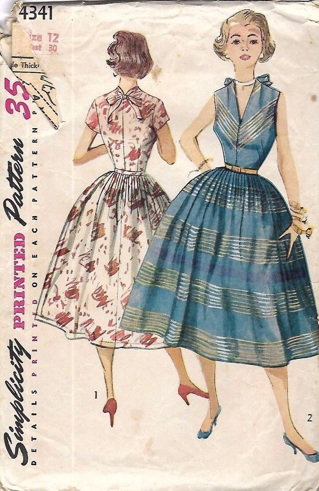 630e52eef25 Vintage 1950 s Sewing Pattern Pretty Low  V  Neck Bow Rockabilly Dress Bust  30
