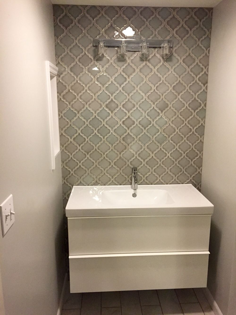 Home Depot Dove gray Arabesque tile bathroom wall. | Bathroom tiles ...