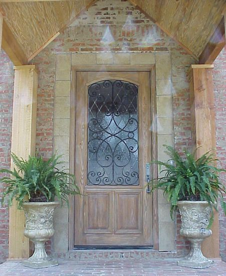 Old World Exterior Wood Front Entry Door Style Dbyd 3097 With Lb Brass Hardware Decorative