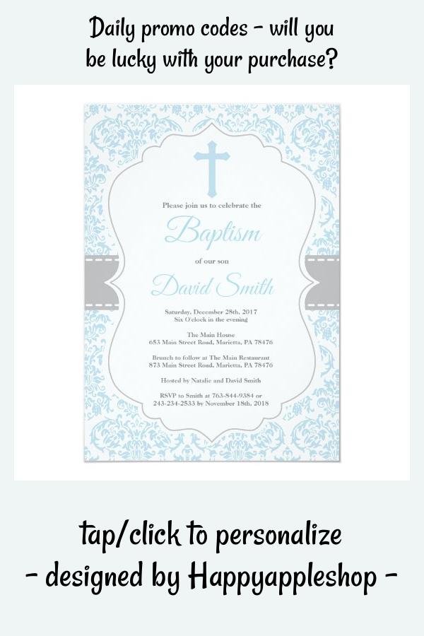 Boy Baptism Invitation Blue And Gray Damask Zazzle Com In 2021 Baptism Invitations Dedication Invitations Boy Baptism