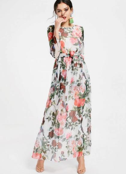 Amazing Maxi Dress Flowers Beautiful Love White Lovely Pretty Woman Fashion Ootd P Maxi Dress Pretty Long Sleeve Dresses White Maxi Dresses Online