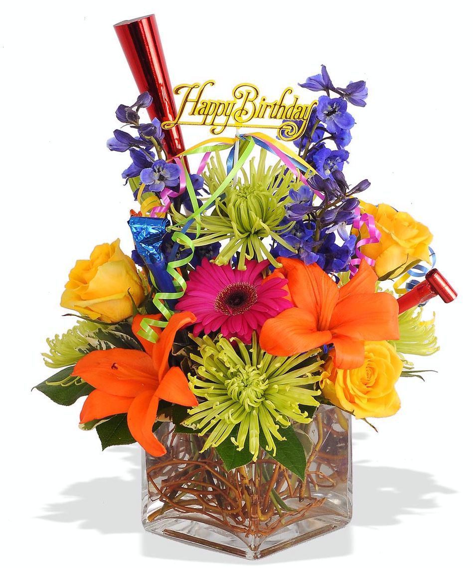 A bright and cheerful bouquet of seasonal blooms with a happy a bright and cheerful bouquet of seasonal blooms with a happy birthday pick izmirmasajfo Image collections