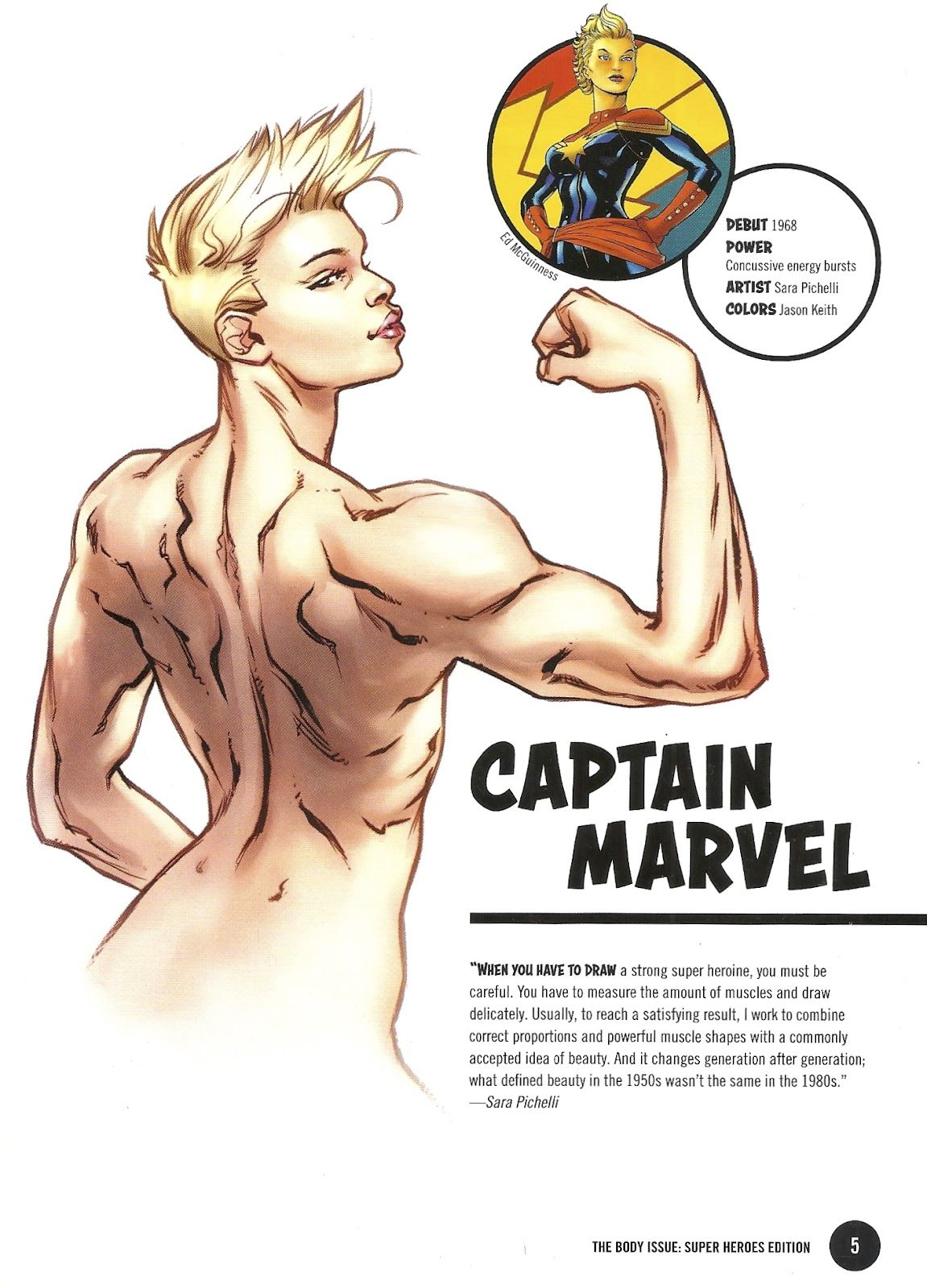 Carol Danvers drawn without their breasts appearing in any way ...