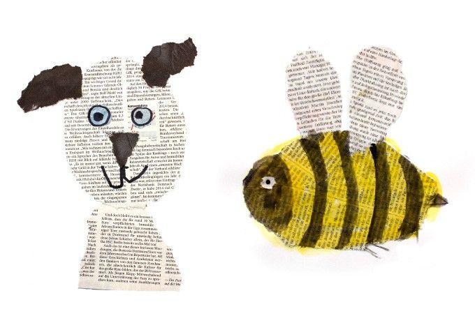 collagen aus zeitungspapier tiere pdf papier collage papier und kunstunterricht. Black Bedroom Furniture Sets. Home Design Ideas