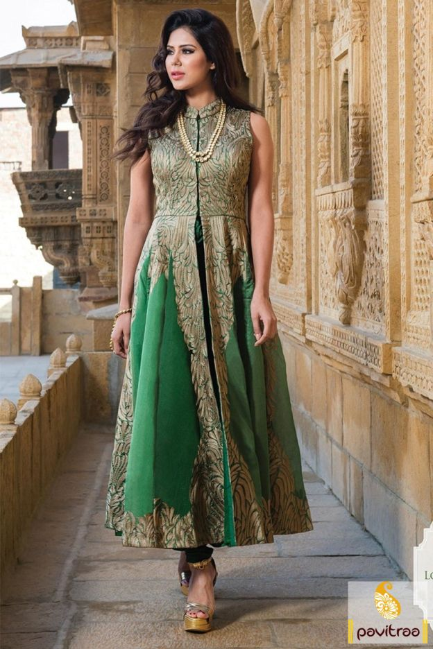 This traditional and conventional beautiful green silk designer ...