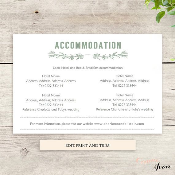 Accommodation Card Printable Template Printable By
