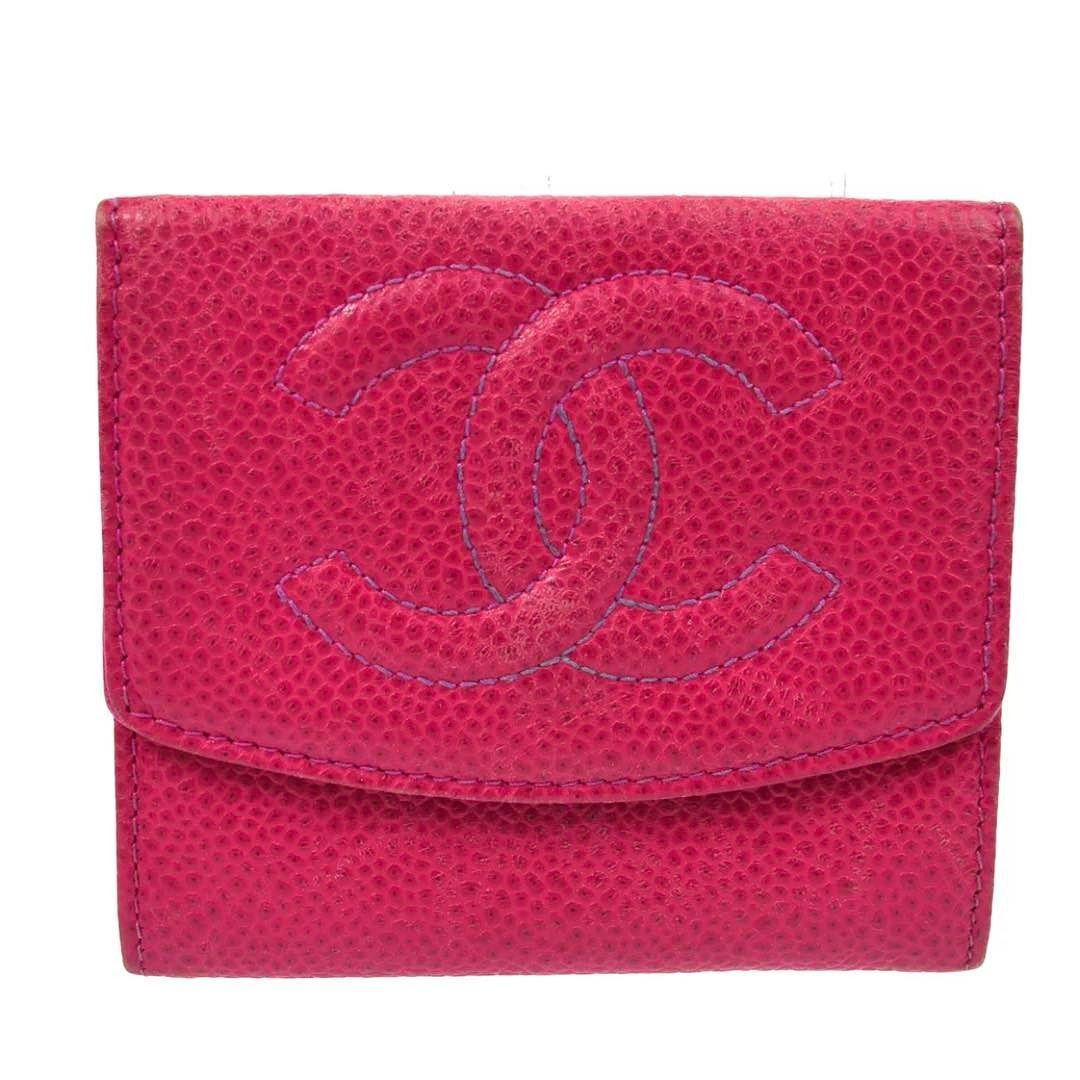 e3e85799985a Chanel pink caviar card holder or flap wallet vintage condition with wear  inside asking $298 comment for more information or to purchase this item