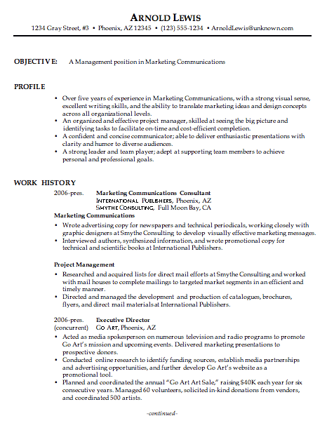 combination resume sample marketing communications manager