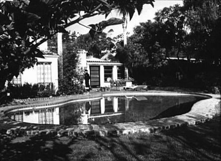 Marilyn Monroe House In Brentwood view of the pool and back of the brentwood house, 1962