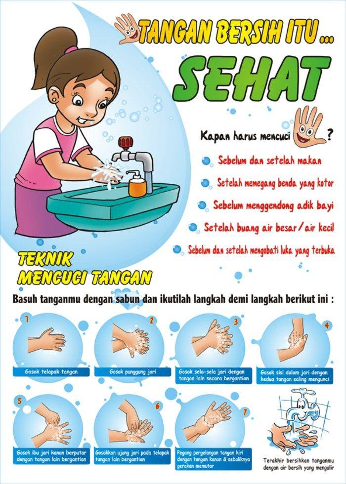 Gambar Kartun Mencuci Tangan Dengan Sabun Dan Air Mengalir ...