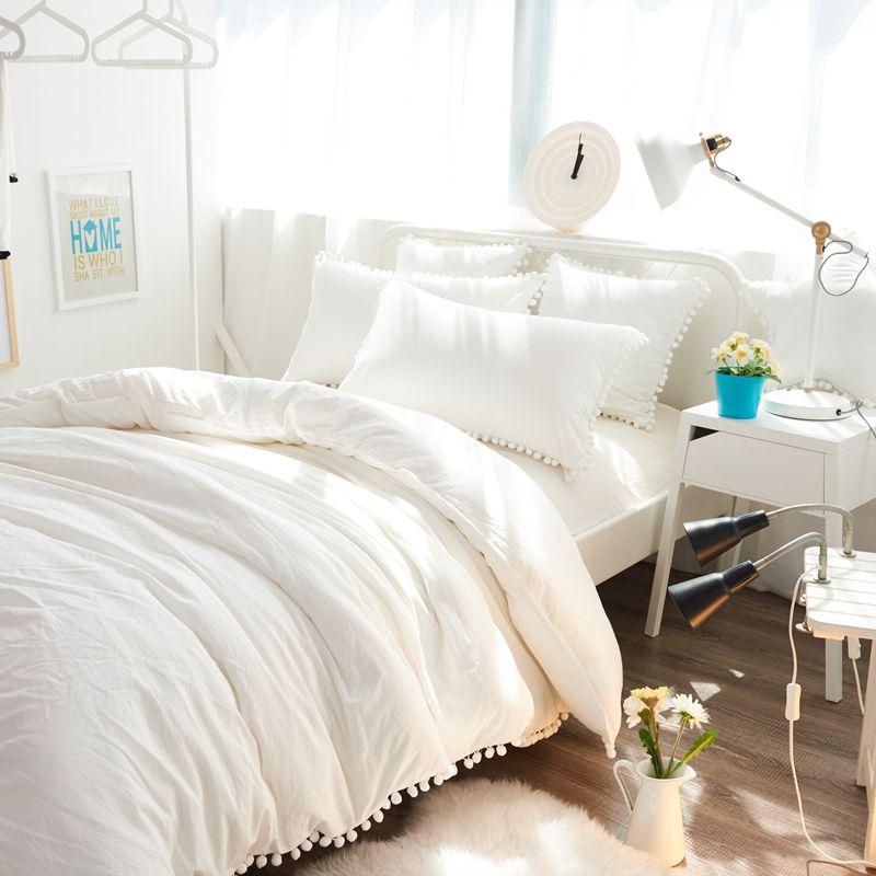 White Bedding Set 100 Washed Cotton Bedlinen Pom Pom Ribbon