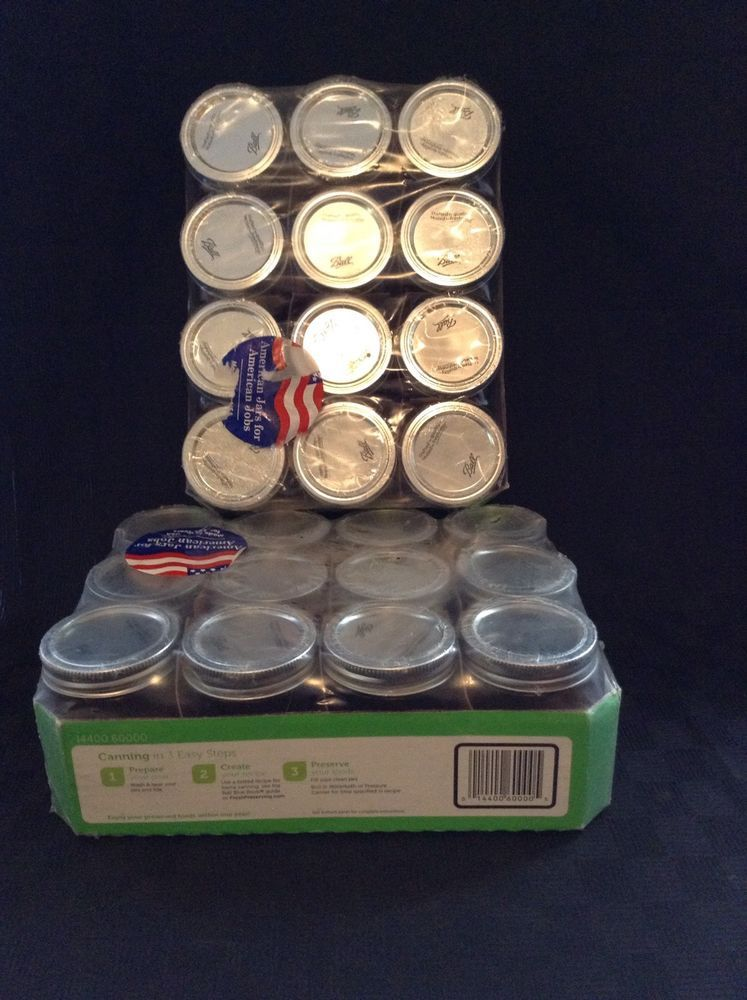Nip Lot Of 2 12 Count Each Ball 8 oz Regular Mouth Mason Jars Canning Crafts #Ball