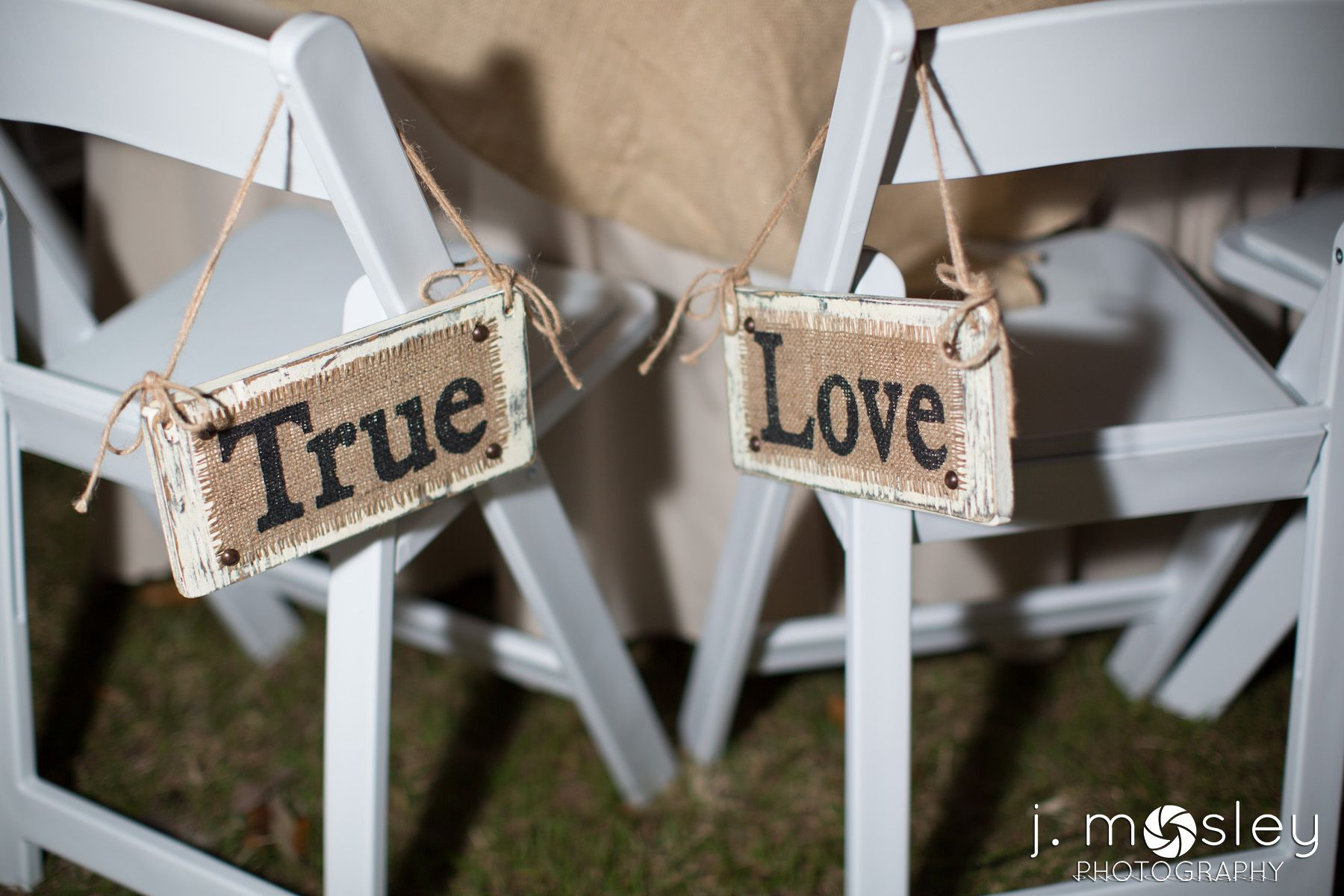 burlap true love signs for wedding chairs