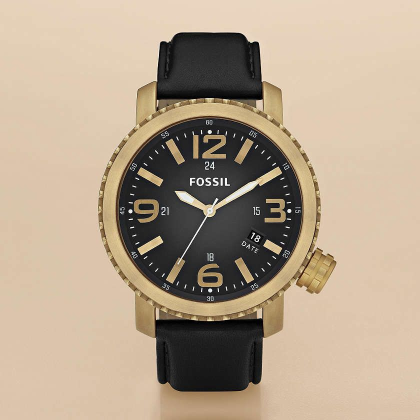 Fossil Casual Leather: Black with Vintaged Bronze
