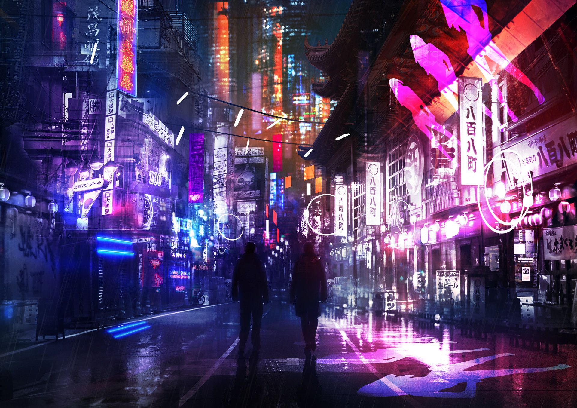 ArtStation Neon Street, Oleg Danylenko Cyberpunk