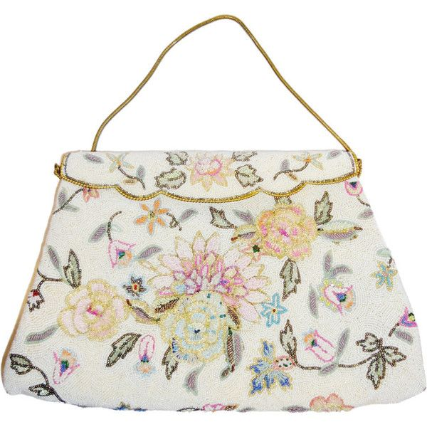 Vintage Pastel colors floral micro beaded bag circa 1960 ( 275) ❤ liked on  Polyvore featuring bags