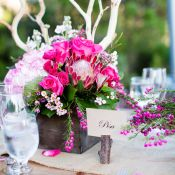 Pink Wood and Burlap Reception Decor Ideas