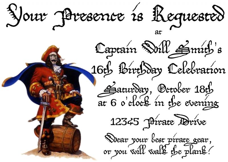 Pirate birthday party invitations free birthday invitation card pirate birthday party invitations free stopboris Image collections