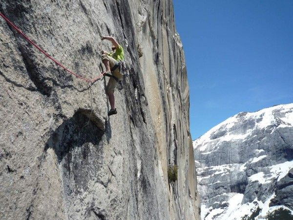 """You can scale Mt Walkins from the valley, but it is a vertical climb. Here is a photo from Chris McNamara who commented """"Tommy starting up the dyno pitch on the South Face of Mt. Watkins, Yosemite Valley. Clouds Rest in the background. Very very snowy for May.""""  Only Gifted climbers should try this. The rest should use the trailhead from Hwy120."""