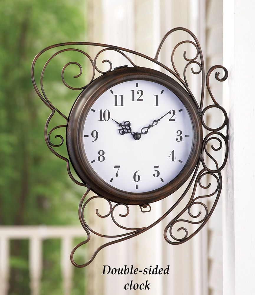 outdoor wall clock butterfly double sided porch deck patio country home decor country