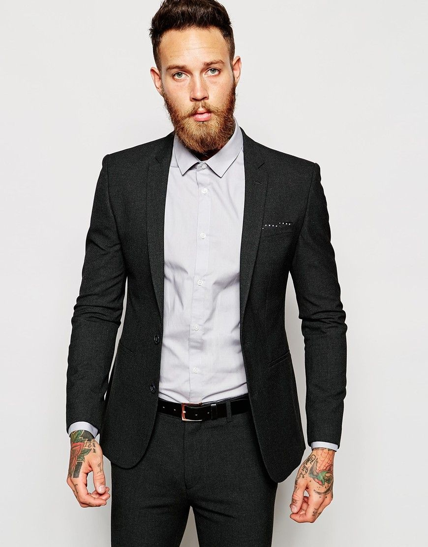 ASOS Super Skinny Suit Jacket In Charcoal | Suits | Pinterest