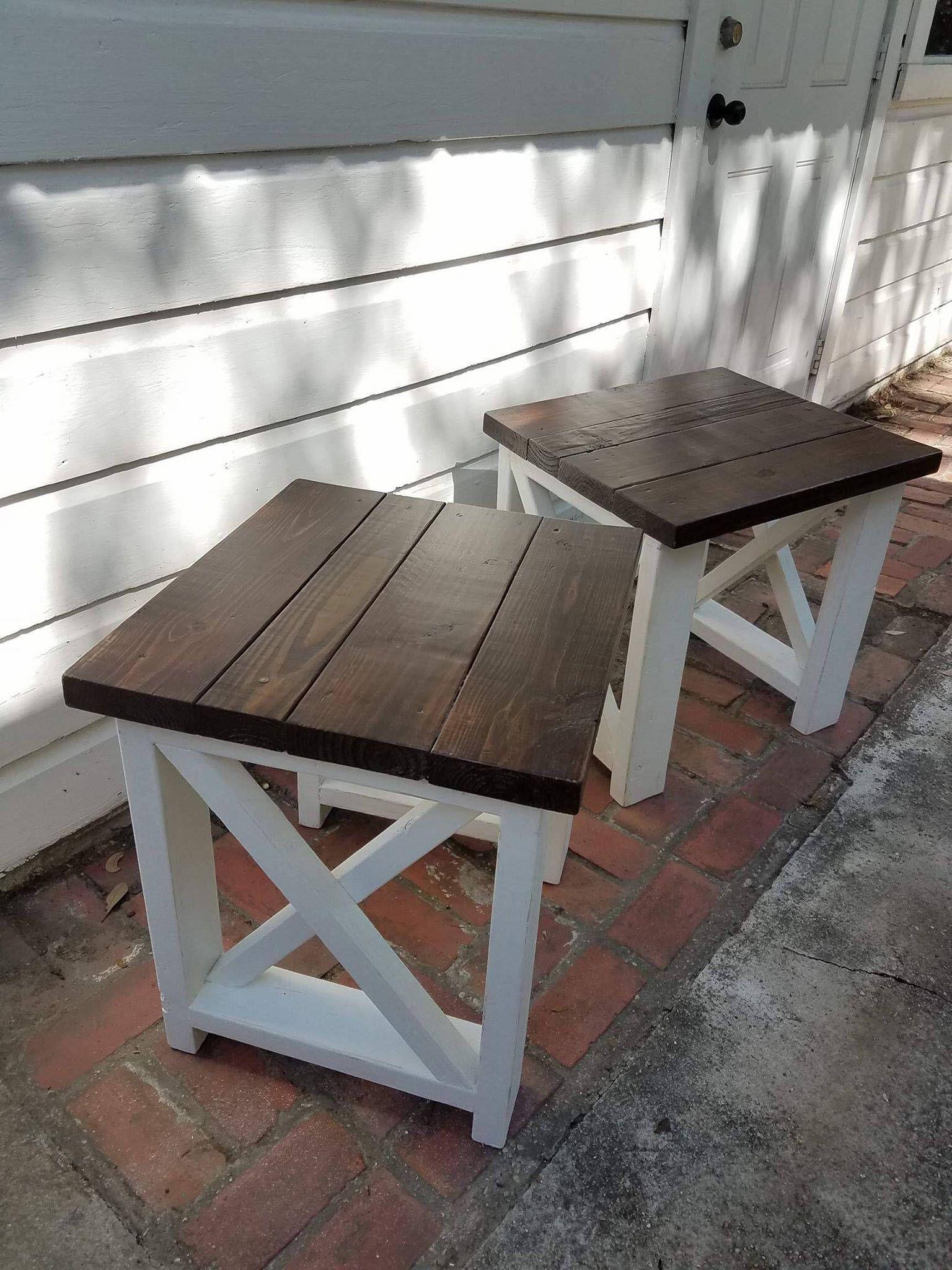 Set of Custom Farmhouse End TablesEnd Table w/ X design