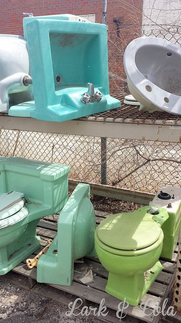 In Denver Colorado Do It Ur Self Plumbing A Vast Land Of Colored Toilets Love Is That Lime Green
