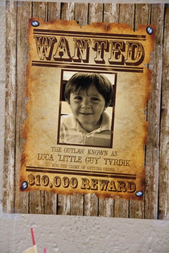 Cowboy Wanted Poster Vintage Inspired Party Decoration By