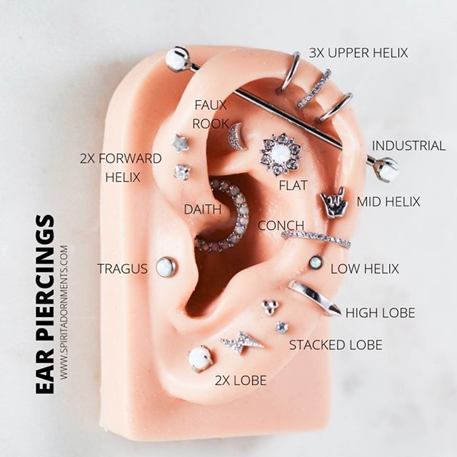 Ear Piercing Chart Guide